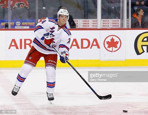 Oscar Lindberg of the New York Rangers skates in warm up prior to the game against the Calgary Flames at Scotiabank Saddledome on December 12 2015 in...