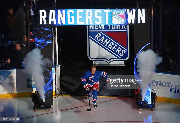 Oscar Lindberg of the New York Rangers skates out during pregame ceremonies prior to the game against the Columbus Blue Jackets at Madison Square...