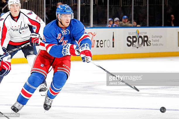 Oscar Lindberg of the New York Rangers skates with the puck against the Washington Capitals at Madison Square Garden on November 3 2015 in New York...