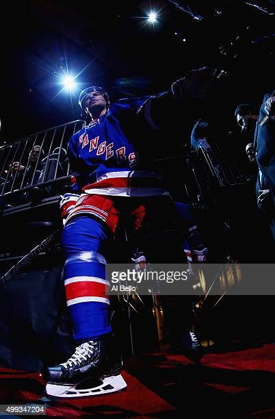 Oscar Lindberg of the New York Rangers takes the ice against the Carolina Hurricanes during their game at Madison Square Garden on November 30 2015...