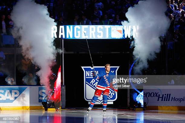 Oscar Lindberg of the New York Rangers takes the ice as he is introduced to the crowd prior to the Rangers home opener against the Columbus Blue...