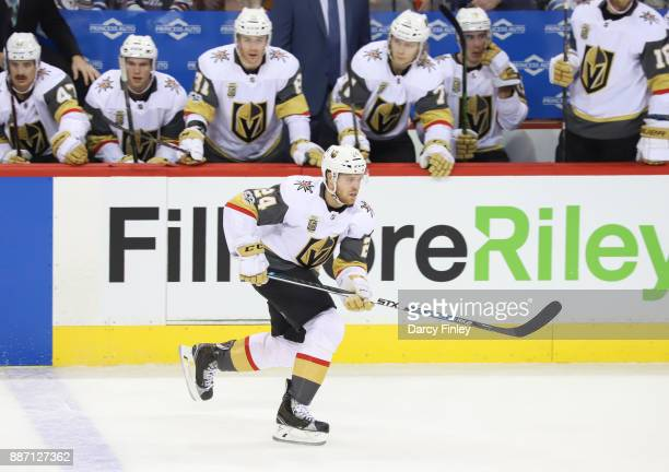 Oscar Lindberg of the Vegas Golden Knights follows the play down the ice during second period action against the Winnipeg Jets at the Bell MTS Place...