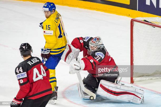 Oscar Lindberg tries to score against Goalie Calvin Pickard during the Ice Hockey World Championship Gold medal game between Canada and Sweden at...