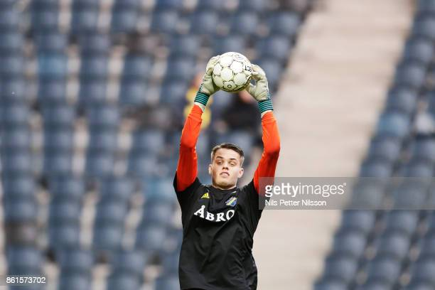 Oscar Linner goalkeeper of AIK during warmup ahead of the Allsvenskan match between AIK and Jonkopings Sodra IF at Friends Arena on October 15 2017...