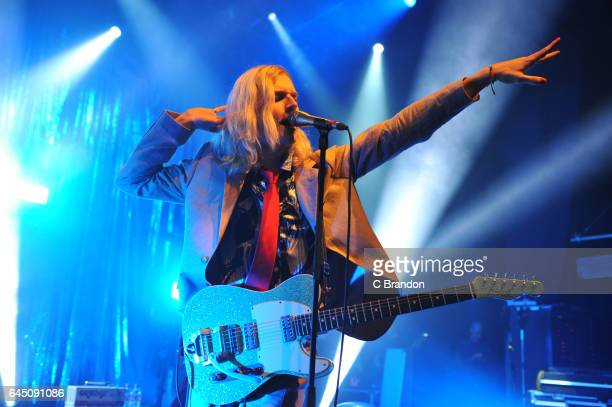 Oscar Lulu of Sundara Karma performs on stage at the O2 Shepherds Bush Empire in London United Kingdom