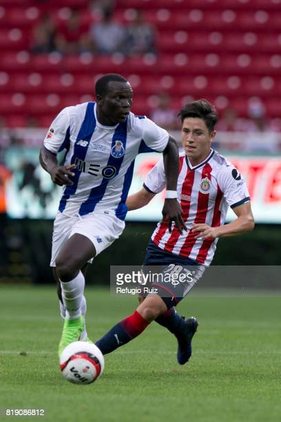 Oscar Macias of Chivas fights chases Vincent Aboubakar of Porto during the friendly match between Chivas and Porto at Chivas Stadium on July 19 2017...