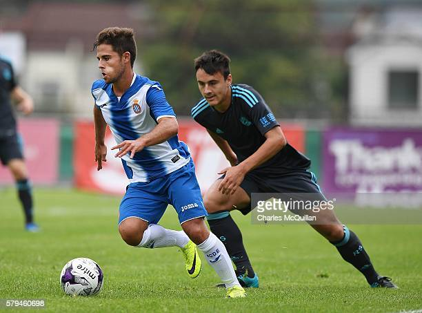 Oscar Melendo Jimenez of Espanyol during the third and fourth place play off Super Cup NI game at Ballymena Showgrounds on July 23 2016 in Ballymena...
