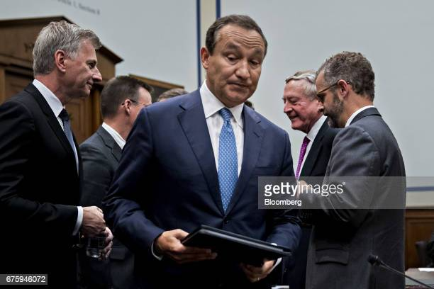Oscar Munoz chief executive officer of United Continental Holdings Inc arrives to a House Transportation and Infrastructure Committee hearing in...
