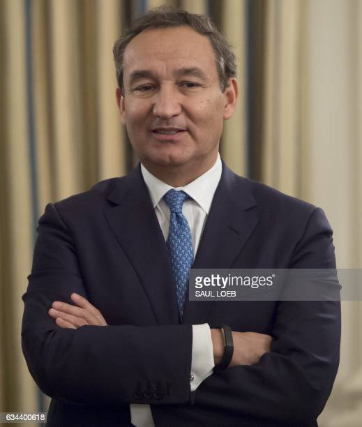 Oscar Munoz President and CEO of United Airlines attends a meeting with airline industry executives hosted by US President Donald Trump in the State...