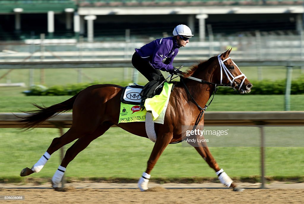 Oscar Nominated runs on the track during morning training for the 2016 Kentucky Derby at Churchill Downs on April 29, 2016 in Louisville, Kentucky.