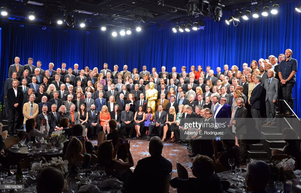 Oscar Nominees pose together for the 85th Academy Awards Nominations Luncheon at The Beverly Hilton Hotel on February 4, 2013 in Beverly Hills, California.