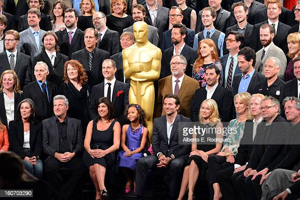 Oscar Nominees pose together for the 85th Academy Awards Nominations Luncheon at The Beverly Hilton Hotel on February 4 2013 in Beverly Hills...