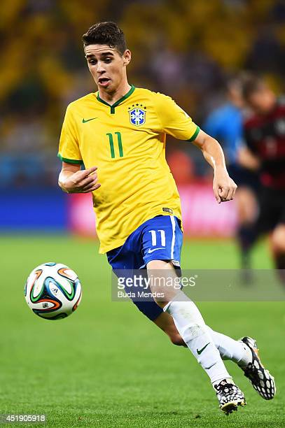 Oscar of Brazil during the 2014 FIFA World Cup Brazil Semi Final match between Brazil and Germany at Estadio Mineirao on July 8 2014 in Belo...