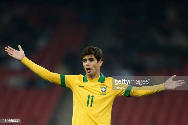 Oscar of Brazil in action during the international friendly match between Brazil and Zambia at Beijing National Stadium on October 15 2013 in Beijing...