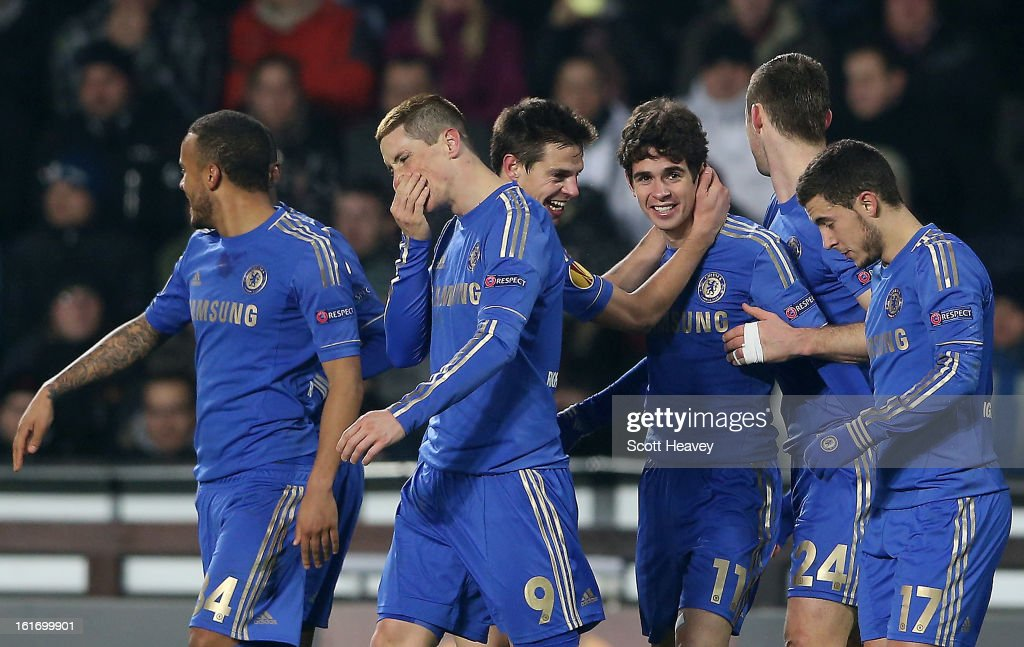 Oscar of Chelsea celebrates after scoring their first goal during the UEFA Europa League match between AC Sparta Praha and Chelsea on February 14, 2013 in Prague, Czech Republic.