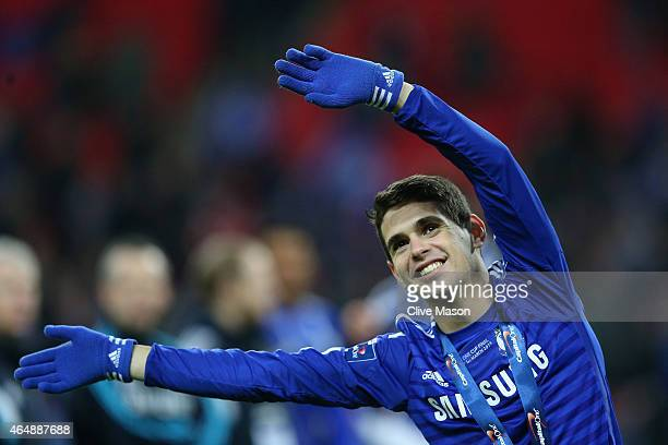 Oscar of Chelsea celebrates after the Capital One Cup Final match between Chelsea and Tottenham Hotspur at Wembley Stadium on March 1 2015 in London...