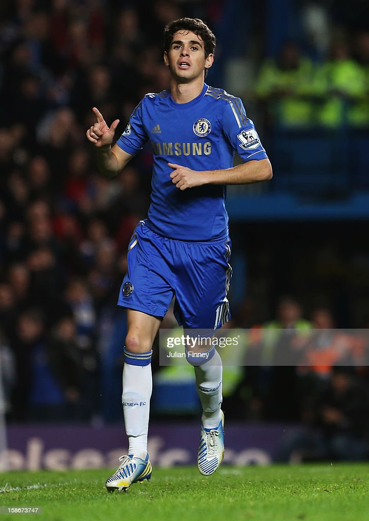 Oscar of Chelsea celebrates as he scores their sixth goal from the penalty spot during the Barclays Premier League match between Chelsea and Aston Villa at Stamford Bridge on December 23, 2012 in London, England.
