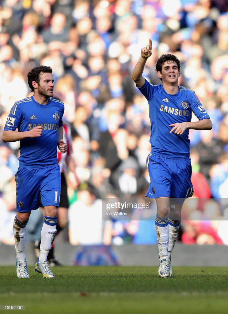 Oscar of Chelsea celebrates scoring a goal during the FA Cup Fourth Round Replay match between Chelsea and Brentford at Stamford Bridge on February 17, 2013 in London, England.
