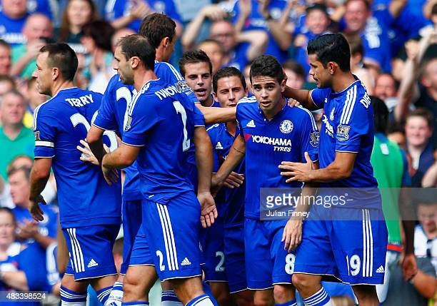 Oscar of Chelsea celebrates scoring his team's first goal with his team mates uring the Barclays Premier League match between Chelsea and Swansea...