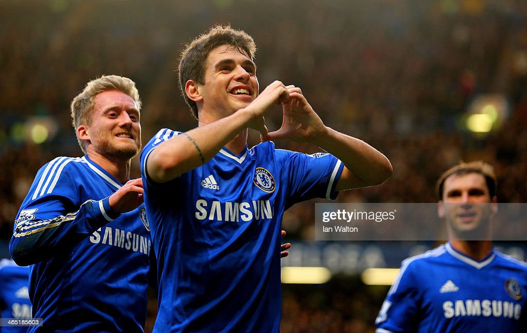 Oscar of Chelsea celebrates scoring the first goal during the FA Cup Fourth Round between Chelsea and Stoke City at Stamford Bridge on January 26, 2014 in London, England.