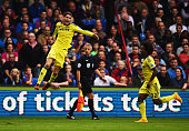 Oscar of Chelsea celebrates with Willian as he scotres their first goal from a free kick during the Barclays Premier League match between Crystal...