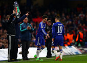 Oscar of Chelsea comes on as a second half substitute for Eden Hazard of Chelsea during the UEFA Champions League round of 16 second leg match...