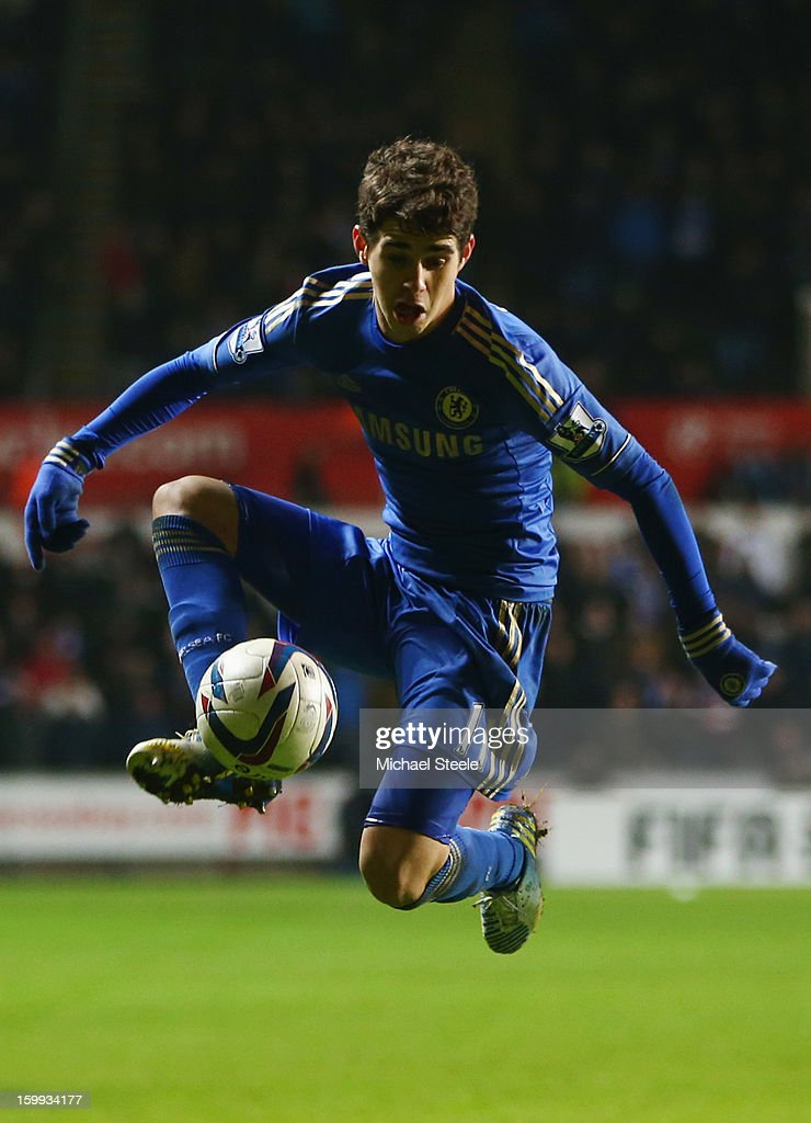Oscar of Chelsea controls the ball during the Capital One Cup Semi-Final Second Leg match between Swansea City and Chelsea at Liberty Stadium on January 23, 2013 in Swansea, Wales.