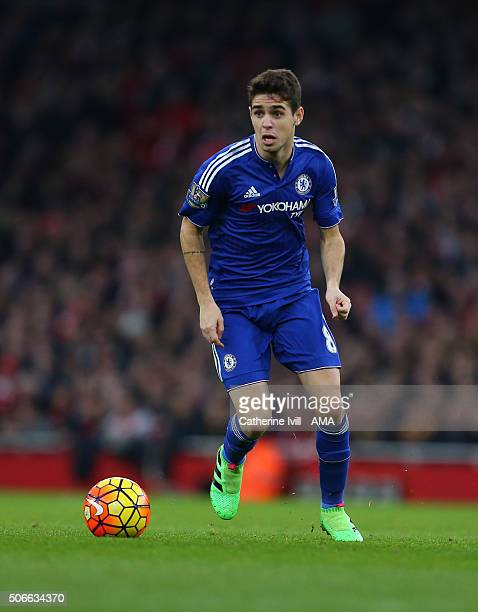 Oscar of Chelsea during the Barclays Premier League match between Arsenal and Chelsea at the Emirates Stadium on January 24 2016 in London England