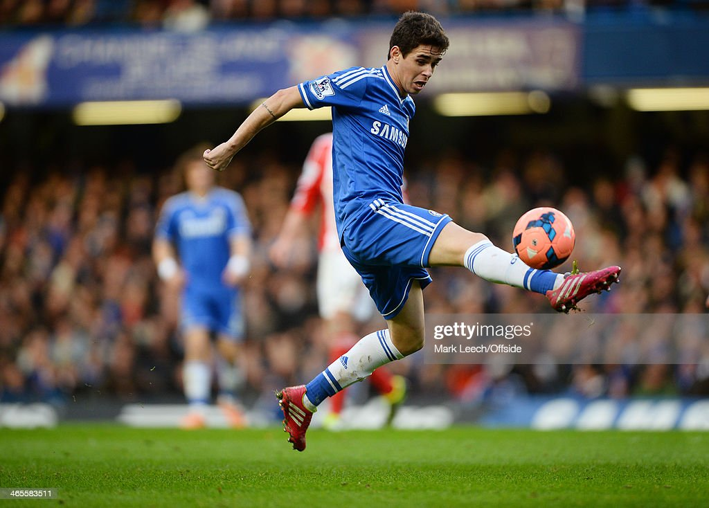 Oscar of Chelsea during the FA Cup Fourth Round match between Chelsea and Stoke City at Stamford Bridge on January 26, 2014 in London, England.