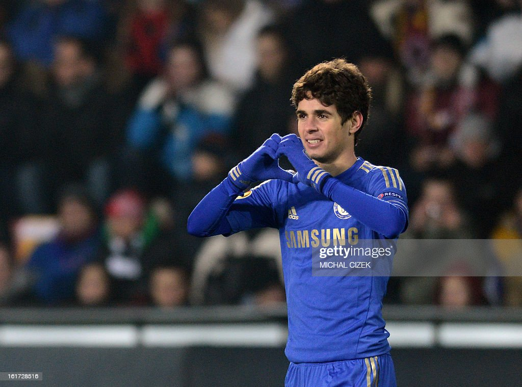 Oscar of Chelsea FC celebrates during the UEFA Europa League football match AC Sparta Praha vs Chelsea FC on February 14, 2013 in Prague, Czech Republic.