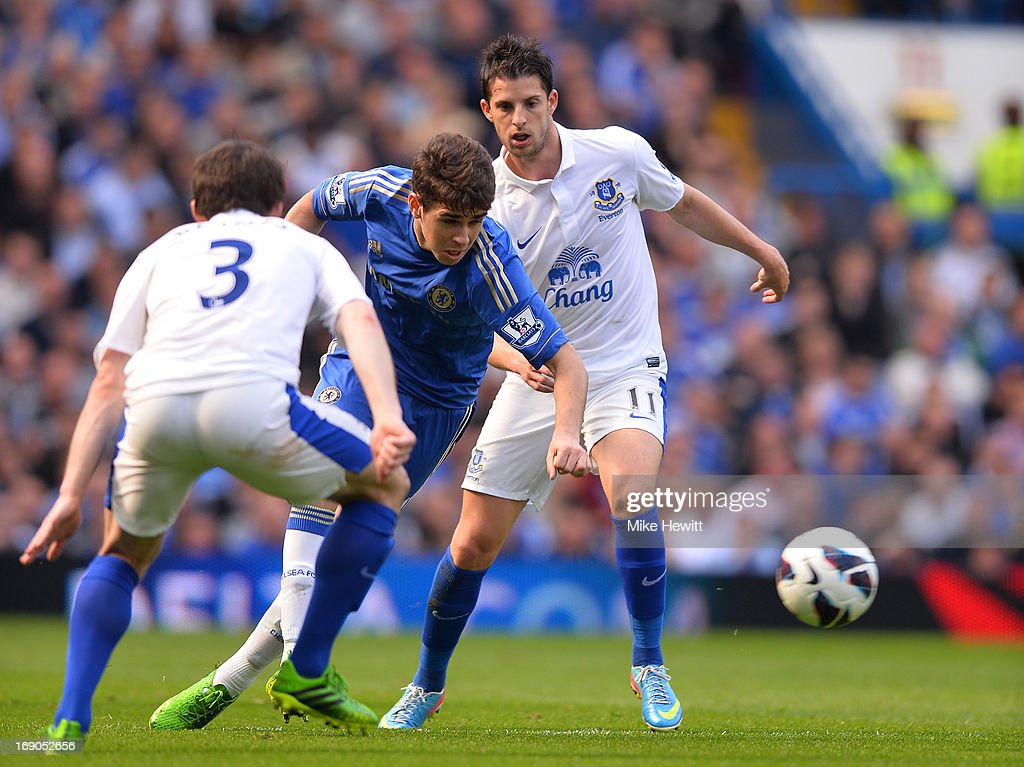 Oscar of Chelsea goes past Leighton Baines of Everton during the Barclays Premier League match between Chelsea and Everton at Stamford Bridge on May 19, 2013 in London, England.