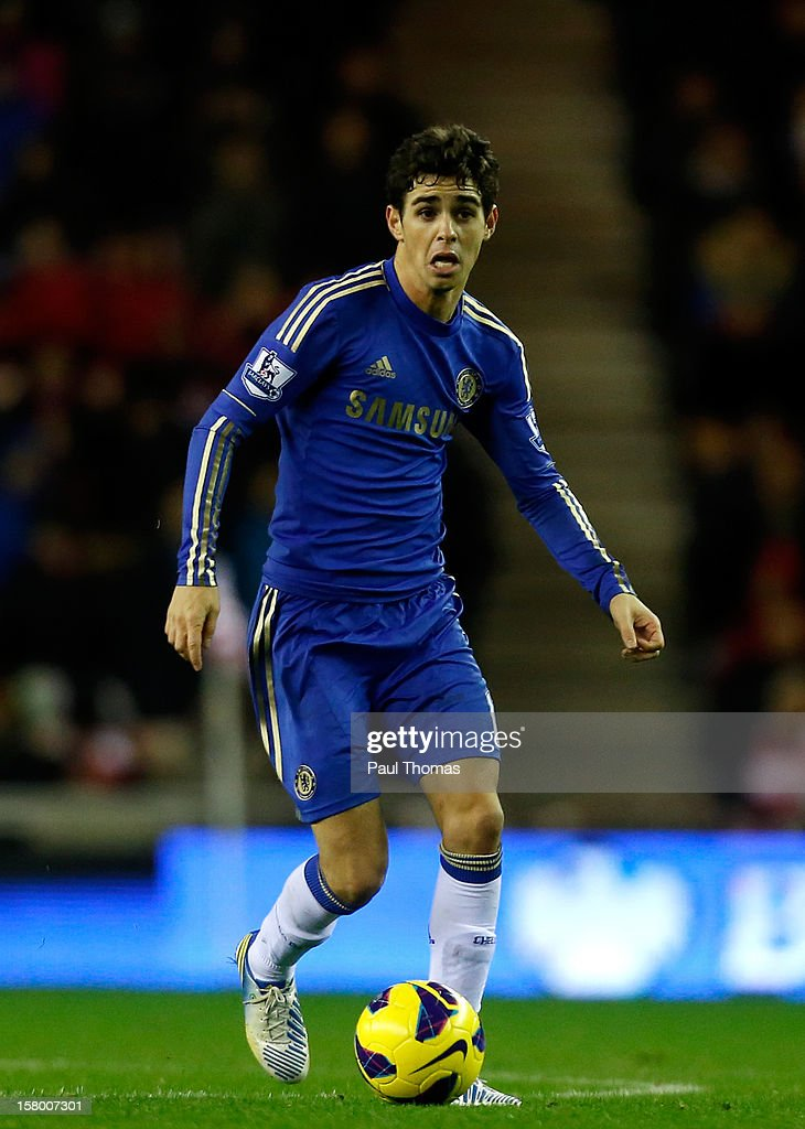 Oscar of Chelsea in action during the Barclays Premier League match between Sunderland and Chelsea at the Stadium of Light on December 8, 2012, in Sunderland, England.