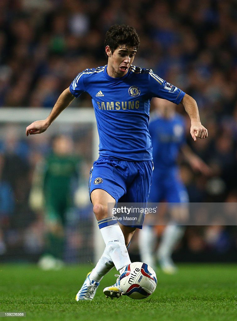 Oscar of Chelsea in action during the Capital One Cup Semi-Final first leg match between Chelsea and Swansea City at Stamford Bridge on January 9, 2013 in London, England.