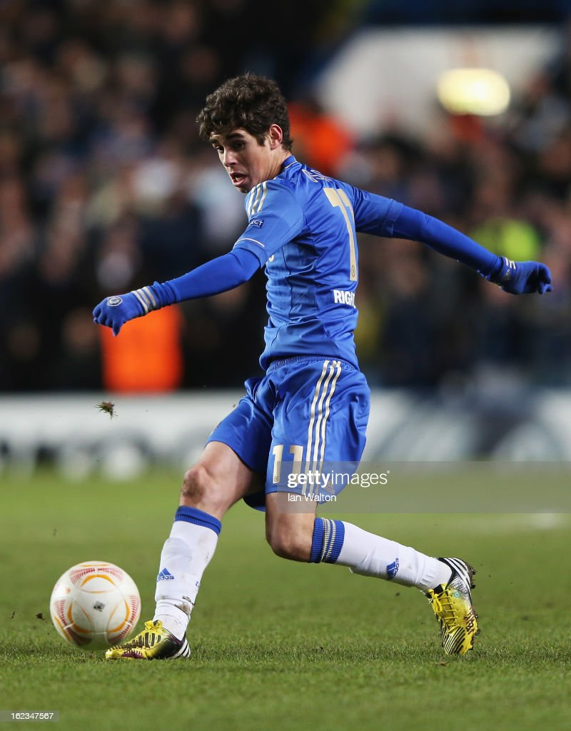 Oscar of Chelsea in action during the UEFA Europa League Round of 32 second leg match between Chelsea and Sparta Praha at Stamford Bridge on February 21, 2013 in London, England.
