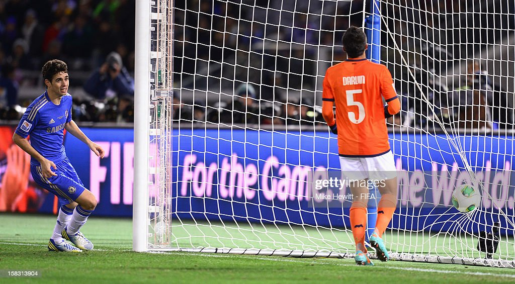 Oscar of Chelsea looks on as Darvin Chavez of CF Monterrey puts through his own goal during the FIFA Club World Cup Semi Final match between CF Monterrey and Chelsea at International Stadium Yokohama on December 13, 2012 in Yokohama, Japan.