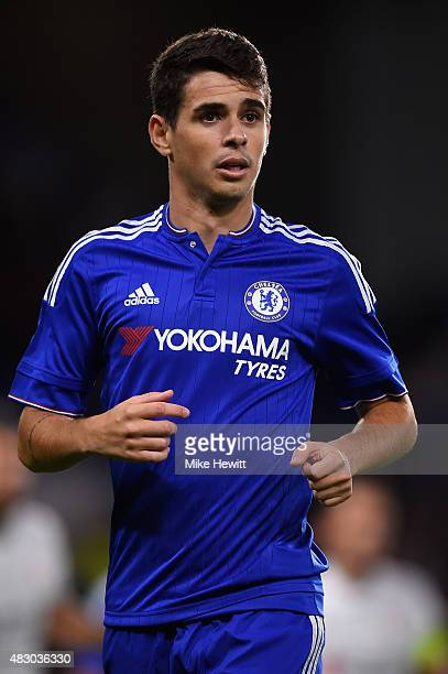 Oscar of Chelsea looks on during a Pre Season Friendly between Chelsea and Fiorentina at Stamford Bridge on August 5 2015 in London England