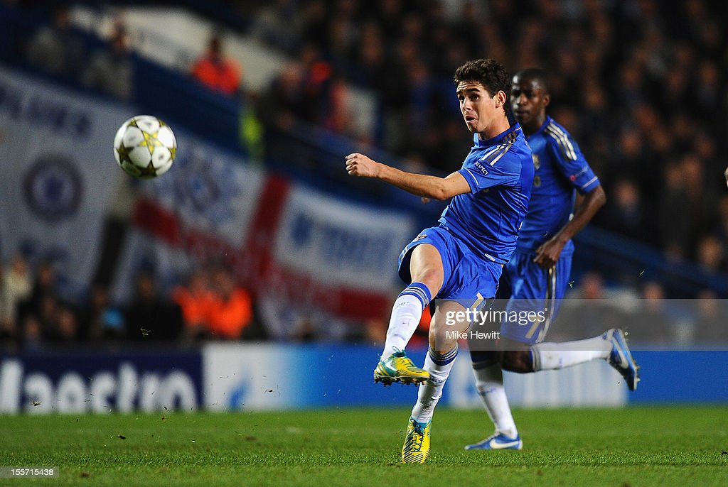 Oscar of Chelsea scores from long range during the UEFA Champions League Group E match between Chelsea and Shakhtar Donetsk at Stamford Bridge on November 7, 2012 in London, England.