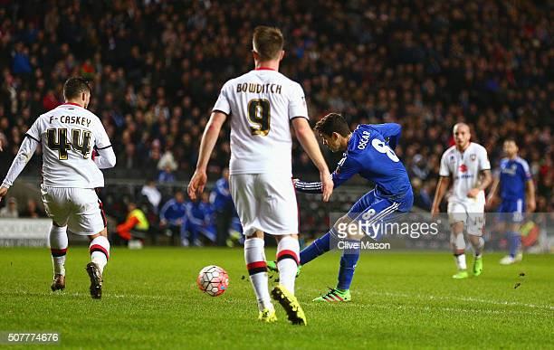 Oscar of Chelsea scores his hat trick goal during the Emirates FA Cup Fourth Round match between Milton Keynes Dons and Chelsea at Stadium mk on...