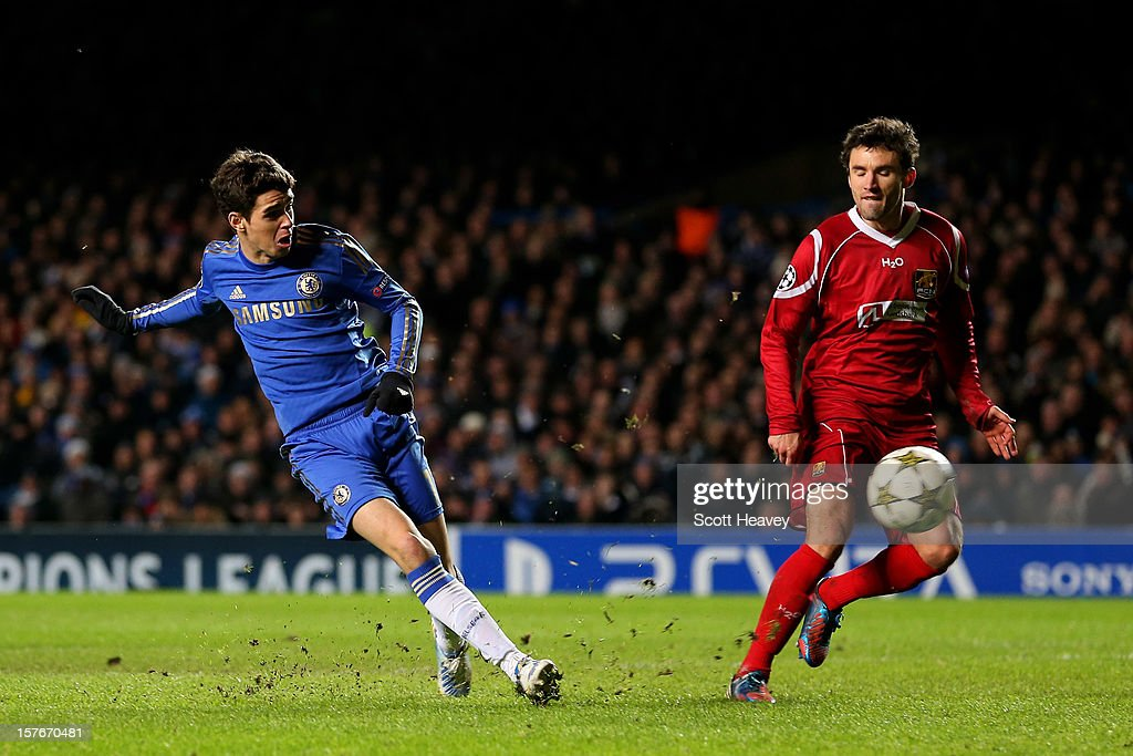 Oscar of Chelsea scores his team's sixth goal during the UEFA Champions League group E match between Chelsea and FC Nordsjaelland at Stamford Bridge on December 5, 2012 in London, England.