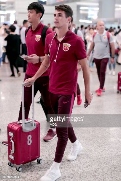 Oscar of Shanghai SIPG arrives at airport after the 13th round match of 2017 Chinese Football Association Super League between Guangzhou RF and...