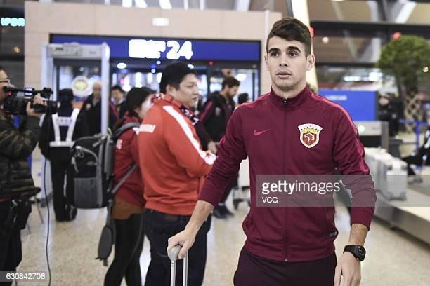 Oscar of Shanghai SIPG arrives at Pudong International Airport prior to his team's departure to the Doha training camp on January 3 2017 in Shanghai...