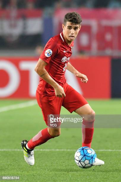Oscar of Shanghai SIPG controls the ball during 2017 AFC Champions League Round of 16 between Jiangsu Suning and Shanghai SIPG at Nanjing Olympic...
