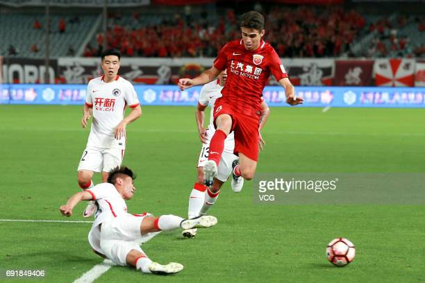 Oscar of Shanghai SIPG controls the ball during the 12th round match of 2017 Chinese Football Association Super League between Shanghai SIPG and...