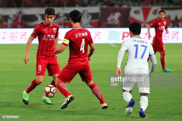 Oscar of Shanghai SIPG controls the ball during the eighth round match of 2017 Chinese Football Association Super League between Shanghai SIPG and...