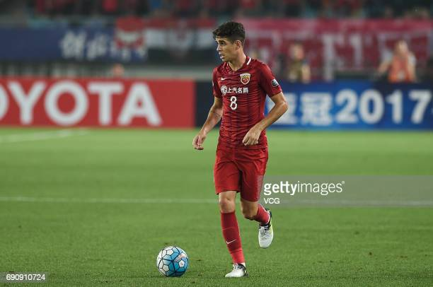 Oscar of Shanghai SIPG dribbles during 2017 AFC Champions League Round of 16 between Jiangsu Suning and Shanghai SIPG at Nanjing Olympic Sports...