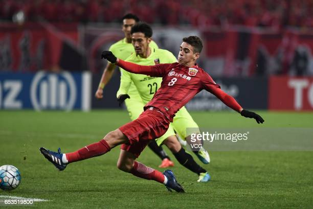 Oscar of Shanghai SIPG shoots the ball during the AFC Champions League Group F match between Shanghai SIPG and Urawa Red Diamonds at Shanghai Stadium...