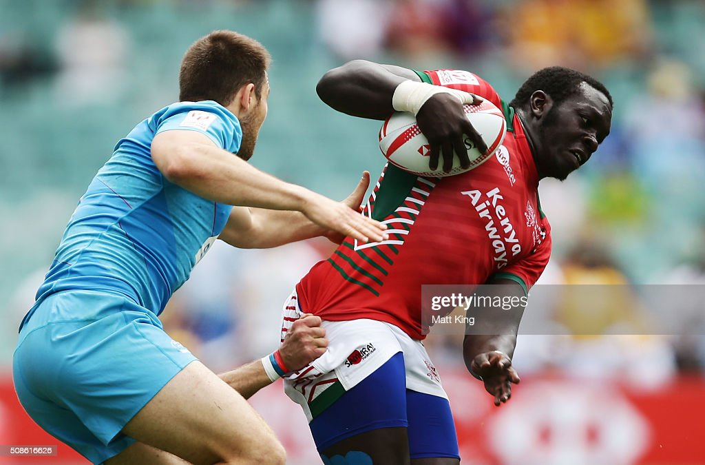 Oscar Ouma of Kenya is tackled during the 20146 Sydney Sevens match kenya and Russia at Allianz Stadium on February 6, 2016 in Sydney, Australia.