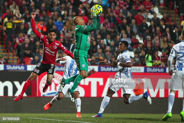 Oscar Perez goalkeeper of Pachuca catches the ball during the 9th round match between Tijuana and Monterrey as part of the Torneo Clausura 2017 Liga...