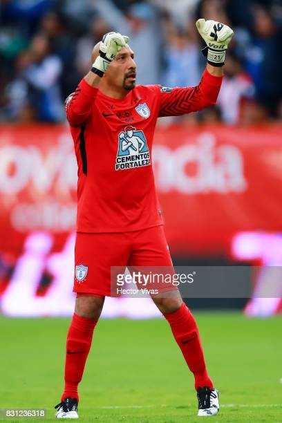 Oscar Perez goalkeeper of Pachuca celebrates after the first goal of his team scored by Angelo Sagal during the 4th round match between Pachuca and...