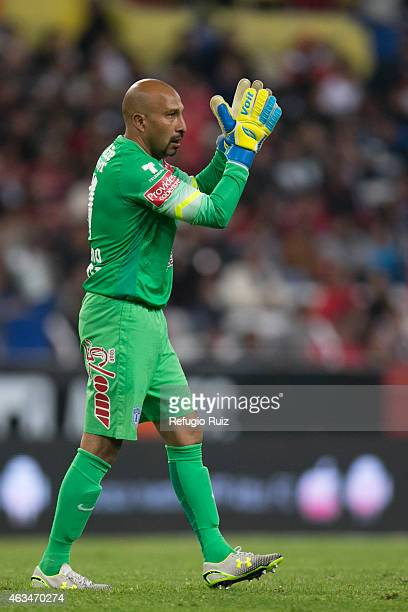 Oscar Perez goalkeeper of Pachuca celebrates his team goal during a match between Atlas and Pachuca as part of 6th round Clausura 2015 Liga MX at...